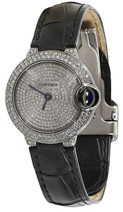 Cartier Cartier Ballon Bleu Silver Diamond Dial Stainless Steel Ladies Watch Black Allig