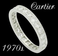 Cartier Estate 1970s Cartier Platinum Apx. 1.25 Ct Tcw Diamond Eternity Band Ring R464