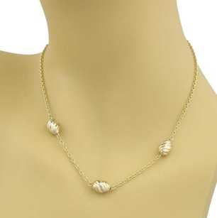 Cartier Estate Cartier 18k Two Tone Gold Triple Oval Swirl Charm Chain Necklace