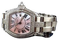 Cartier Ladies Cartier Roadster Pink Dial W62016v3 Square Quartz Diamond Watch Ct