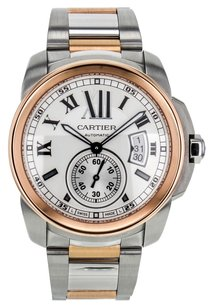 Cartier Men's Calibre W7100036 Automatic Watch in Rose Gold and Stainless Steel with White Dial CRT2TC10