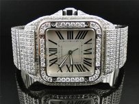 Cartier Mens Cartier Santos Automatic Full Diamond Watch White Face Roman Ct