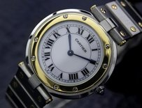 Cartier Mensunisex Mid Swiss Cartier Santos 18k Gold And Ss Dress Watch C2000 1255