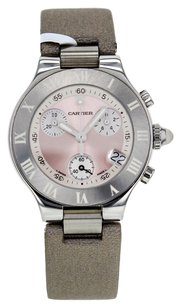 Cartier Women's 21 Chronoscaph Small 2996 Stainless Steel Quartz Watch with Pink Dial CRTSM4