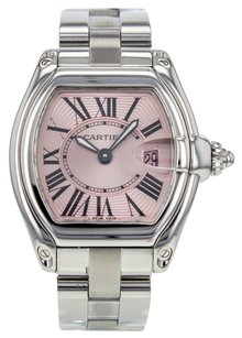Cartier Women's Roadster W62016V3 Stainless Steel Quartz Watch with Pink Dial CRTSR110