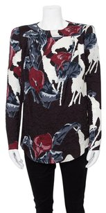 Carven Color Floral Print Crinkled Top Multi-Color