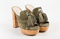 Casadei Olive Tan Suede Green Mules