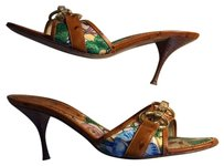 Casadei Italy Pumps Floral Print and Cognac Ostrich Sandals