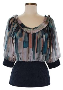Catherine Malandrino Silk Print Ruffle Scoop Neck Top