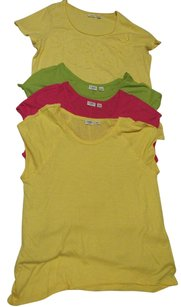 Cato Lightweight Flower Deconstructed T Shirt Yellow Pink Green