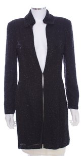 Cecily Brown Silk Evening Beaded Long Coat Black Blazer