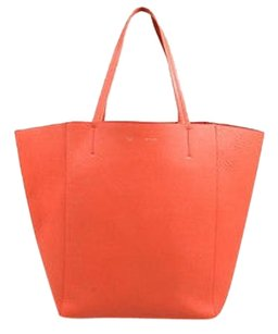 Céline Celine Coral Textured Leather Tote in Orange