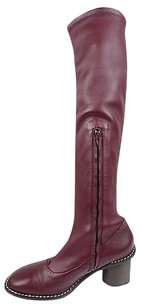 Céline Paris Soft Stretch Leather Knee High Eu Burgundy Boots