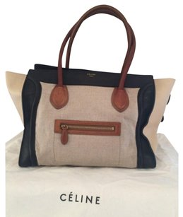 Celine luggage handbag Tote in Beige,blue, Brown