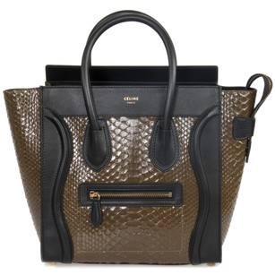 Céline Luggage Micro Tote in Brown Python