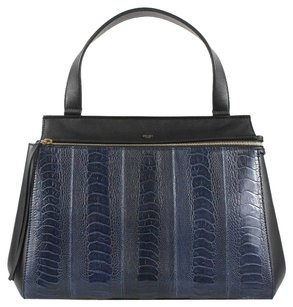 Céline Navy Leather Medium Tote in blue