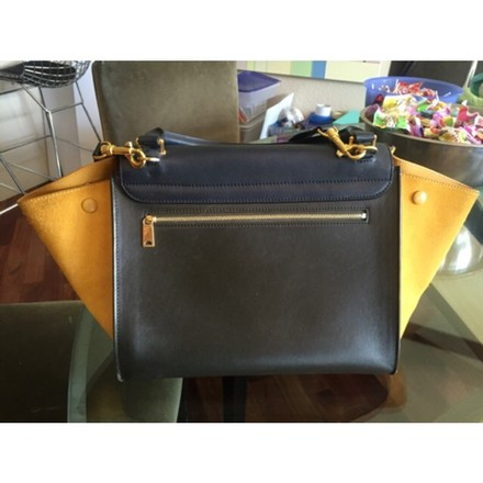 Céline Satchel in Navy, Brown, Mustard