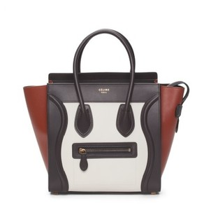 Céline Tri Color Block Micro Tote in Brown