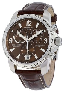 Certina Certina DS Podium GMT Brown Dial Brown Leather Mens Quartz Watch C0016391629700