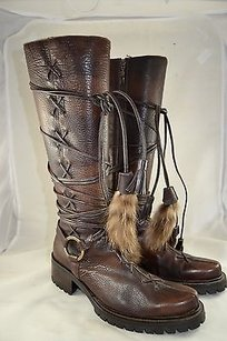 Cesare Paciotti Leather Multi Lace Up Mid Calf Brown Boots