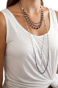 Chan Luu Chan Luu Mystic Black Mix Tiered Strand Statement Necklace