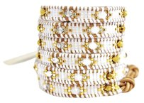 Chan Luu Chan Luu White Mix Wrap Bracelet on Beige Leather