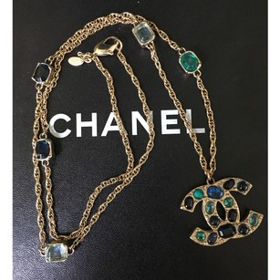 Chanel Chanel Classic CC Gold Turquoise Blue Gripoix Necklace