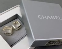 Chanel CHANEL sterling silver Square hoop earrings for Pierced Ears w/Box