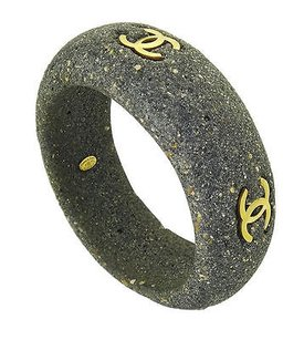 Chanel 1994 Chanel Grey Stone Bangle With Inset Gold Tone Cc Accents 114.8 Grams B174