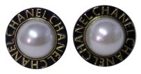 Chanel 2 Large Chanel Faux Pearl Buttons - BLACK & Gold Metal