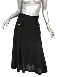 Chanel Long Crepe Flounce Pockets M40 Skirt Blacks
