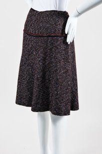 Chanel 02a Maroon Brown Wool Skirt Multi-Color
