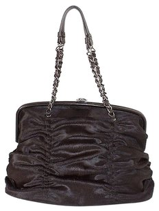 Chanel Sheared Fur Snap Tote in Brown