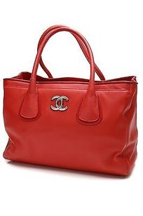 Chanel Lambskin Executive Tote in Red, dark red