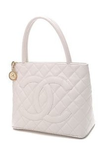 Chanel Quilted Caviar Leather Medallion Tote in White