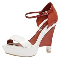 Chanel Patent Leather Wedge High Heel Sandal RED/WHITE Platforms