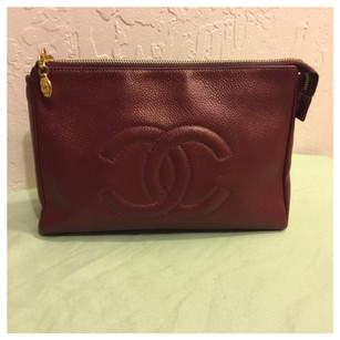 Chanel Auth CHANEL Caviar Skin Zip Top Pouch Clutch Makeup Bag Gold HW. Good Shape And Clean Condition