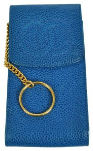 Chanel Auth CHANEL CC Logos Phone Case Pouch Caviar Skin Leather Blue Vintage LP14940