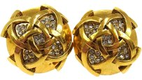 Chanel Auth CHANEL CC Logos Rhinestone Earrings Gold-Tone Clip-On France LP06741