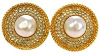Chanel Auth CHANEL Vintage CC Logos Imitation Pearl Earrings Clip-On France LP10930