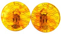 Chanel AUTH CHANEL VINTAGE CC LOGOS QUILTED EARRINGS PLASTIC ORANGE CLIP-ON AK01276