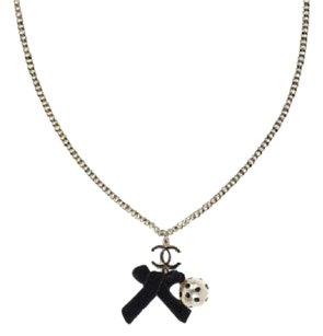 Chanel Authentic Chanel Black Enamel and Polka Dot Pearl Necklace