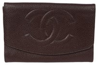 Chanel Authentic CHANEL CC Logos Bifold Wallet Purse Caviar Skin Leather Brown 02B769