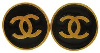 Chanel Authentic CHANEL CC Logos Circle Earrings Black Gold-Tone Clip-On 01P 02D901