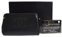 Chanel Authentic CHANEL CC Logos Hand Bag Pouch Caviar Skin Leather Black 07H340
