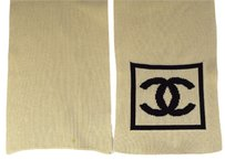 Chanel Authentic CHANEL CC Logos Muffler Scarf 100% Cotton Ivory France Vintage 60W905