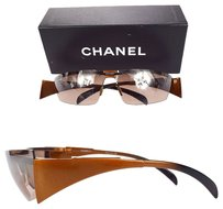 Chanel Authentic CHANEL CC Logos Sunglasses Eye Wear Plastic Brown Italy Vintage 07H063