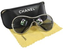 Chanel Authentic CHANEL CC Logos Sunglasses Eye Wear Silver Plastic Vintage B26115e