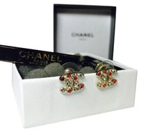 Chanel AUTHENTIC CHANEL Gold CC Logo Earrings with Multi-color Rhinestones
