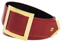 Chanel Authentic CHANEL Logos Buckle Belt Red Gold Leather France Vintage #80 LP03710